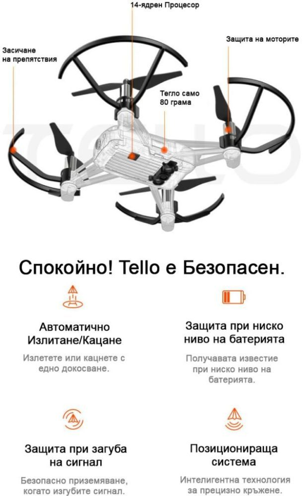 Drones.bg Дрон DJI Tello + ПОДАРЪК Комплект Перки