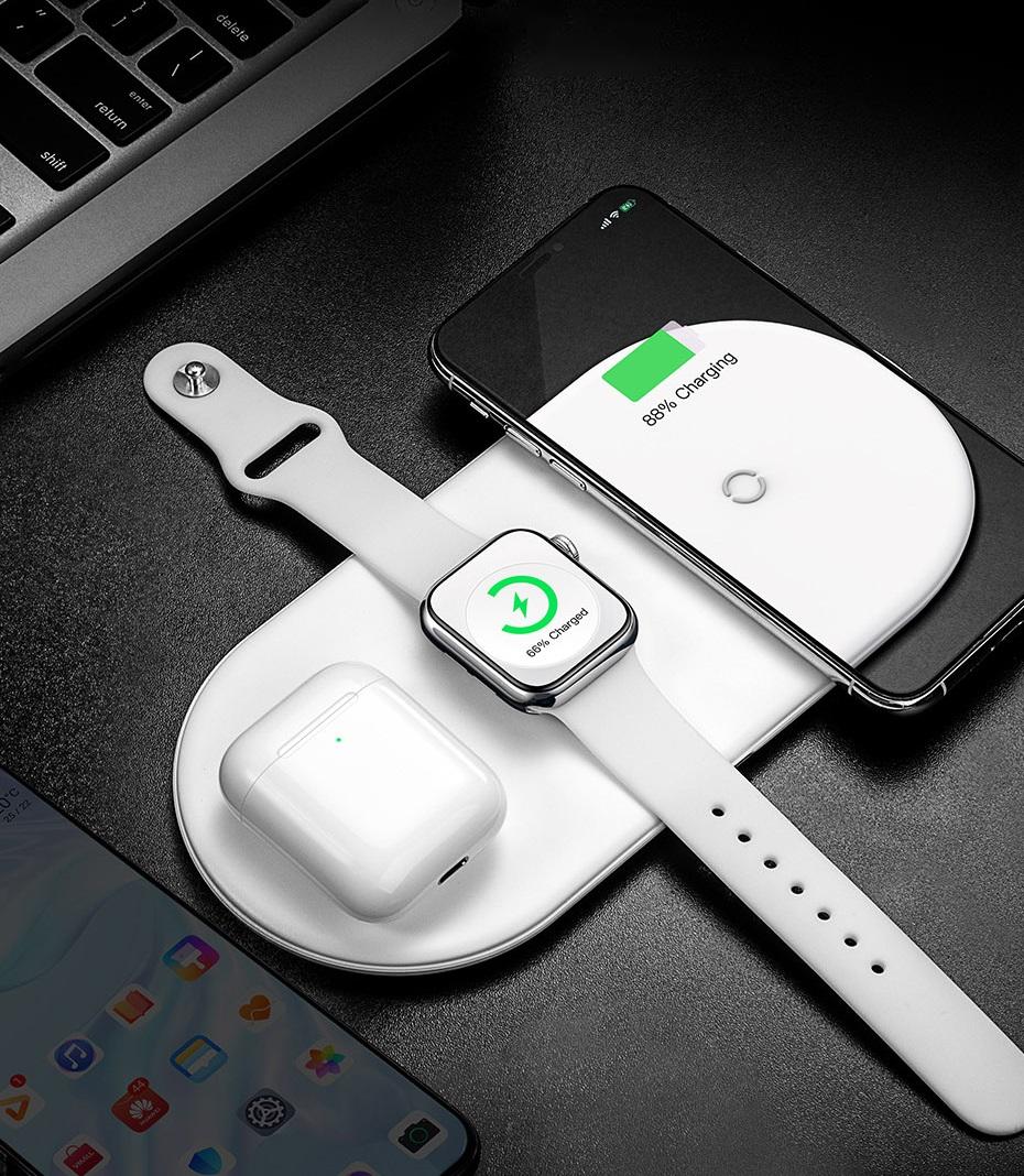 Безжично зарядно устройство Baseus Smart 3в1 за смартфон, Apple Watch и AirPods, 18W