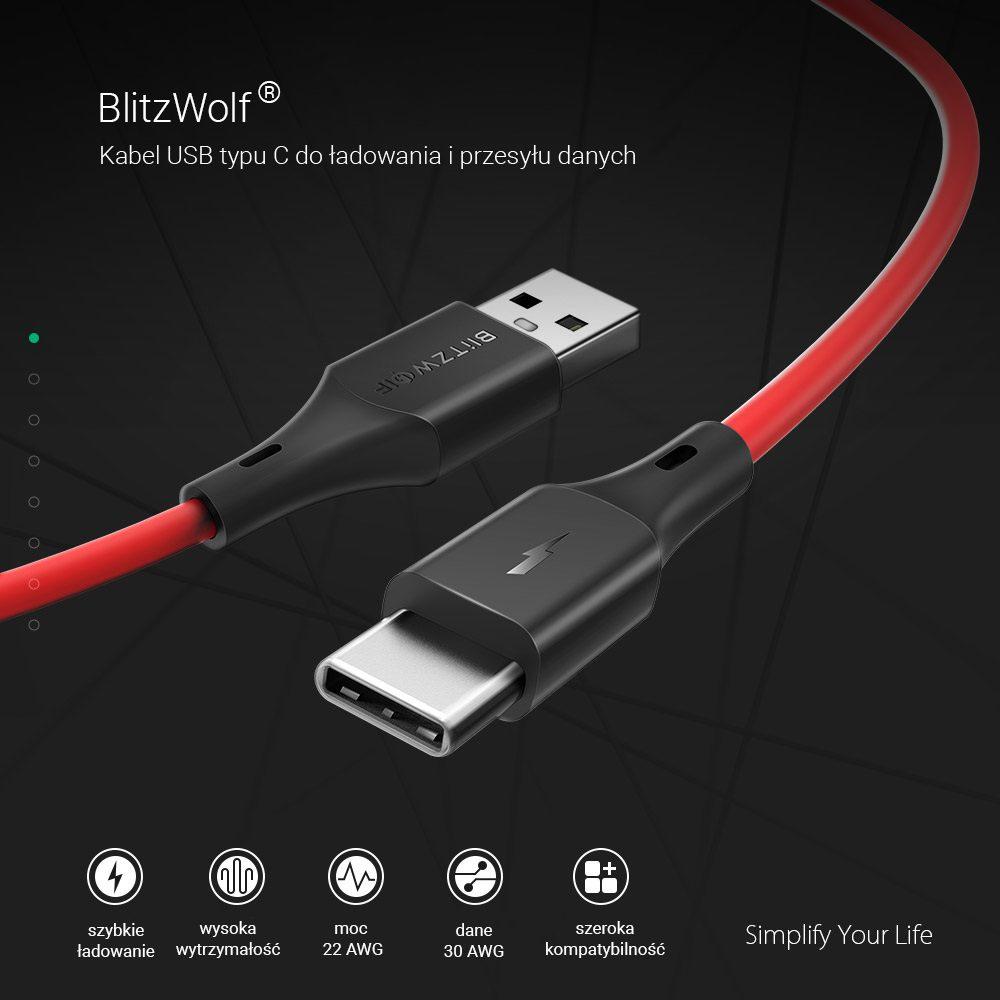 USB-C кабел BlitzWolf BW-TC13 3A 0,3 м (червен)