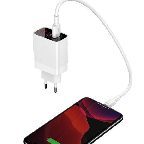 Зарядно / адаптер с дисплей – 2 x USB 18W QC 3.0 Baseus Mirror Lake